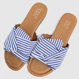 Franco Sarto Shoes - blue + white striped sandal | franco sarto.